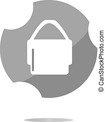 shopping bag icon web button . Trendy flat style sign isolated on white background