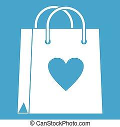 Shopping bag icon white