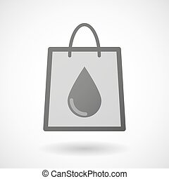 Shopping bag icon with a blood drop