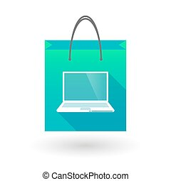 Shopping bag icon with a laptop