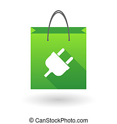 Shopping bag icon with a plug
