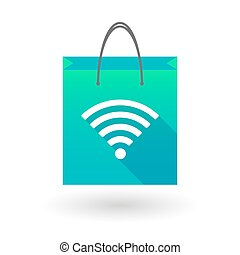 Shopping bag icon with a radio signal sign