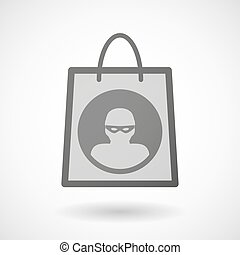 Shopping bag icon with a thief