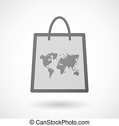 Shopping bag icon with a world map