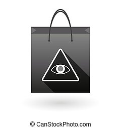 Shopping bag icon with an all seeing eye - Illustration of a...