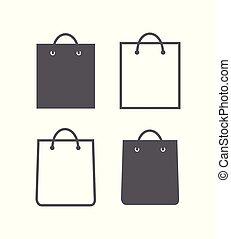 Shopping bag icons on white background