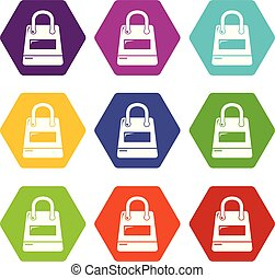 Shopping bag icons set 9 vector