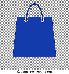 Shopping bag illustration. Blue icon on transparent background.