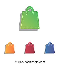 Shopping bag illustration. Colorfull applique icons set.