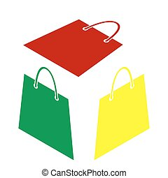 Shopping bag illustration. Isometric style of red, green and yellow icon.