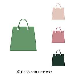 Shopping bag illustration. Russian green icon with small jungle green, puce and desert sand ones on white background. Illustration.