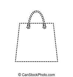 Shopping bag illustration. Vector. Black dashed icon on white background. Isolated.
