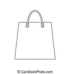 Shopping bag illustration. Vector. Black dotted icon on white background. Isolated.