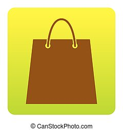Shopping bag illustration. Vector. Brown icon at green-yellow gradient square with rounded corners on white background. Isolated.