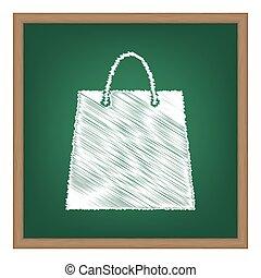 Shopping bag illustration. White chalk effect on green school board.