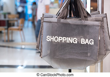 Shopping bag in cloth store