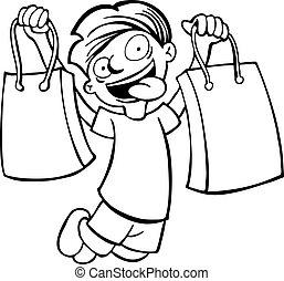 shopping bag kid line art