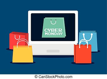Shopping bag laptop and cyber monday design