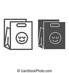 Shopping bag line and glyph icon. Packet with smiley vector illustration isolated on white. Package outline style design, designed for web and app. Eps 10.