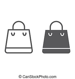 Shopping bag line and glyph icon, shop and buy, package sign, vector graphics, a linear pattern on a white background.