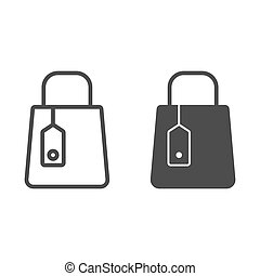 Shopping bag line and glyph icon. Store package vector illustration isolated on white. Mall bag outline style design, designed for web and app. Eps 10.
