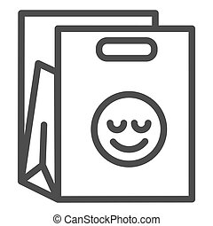 Shopping bag line icon. Packet with smiley vector illustration isolated on white. Package outline style design, designed for web and app. Eps 10.