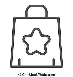 Shopping bag line icon. Paper bag vector illustration isolated on white. Package outline style design, designed for web and app. Eps 10.
