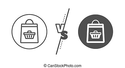 Shopping bag line icon. Supermarket buying sign. Vector