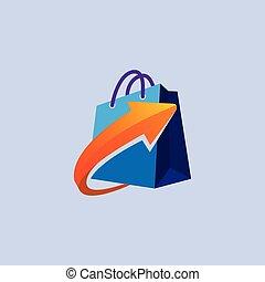 Shopping bag logo with Arrow icon vector