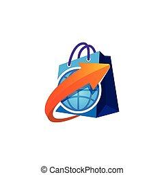Shopping bag logo with globe icon vector