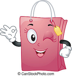 Mascot Illustration Featuring a Shopping Bag Doing an Okay Sign While Winking