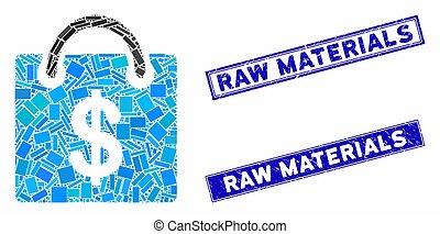 Shopping Bag Mosaic and Grunge Rectangle Raw Materials Seals...