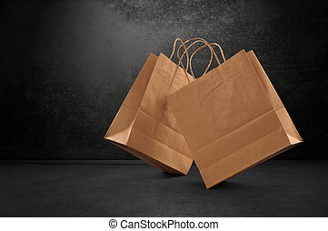 shopping bag on black background