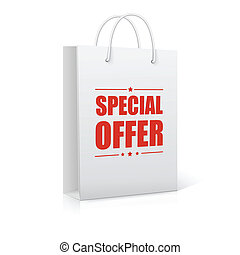 Shopping Bag on white with text Special Offer. Ready for your design.