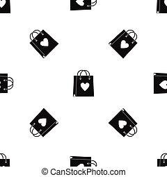 Shopping bag pattern seamless black