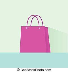 shopping bag pink flat design vector