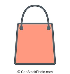Shopping Bag Pixel Perfect Vector Thin Line Icon 48x48. Simple Minimal Pictogram