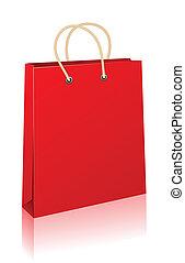 shopping, bag., rosso