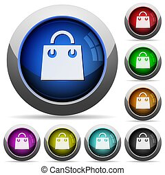 Shopping bag round glossy buttons