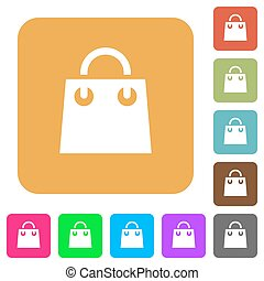 Shopping bag rounded square flat icons