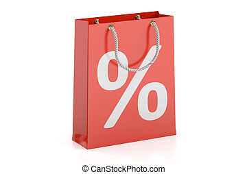 Shopping bag, sale and discount concept. 3D rendering