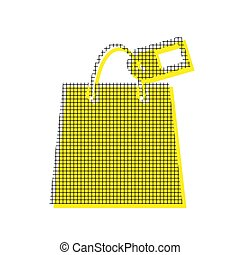 Shopping bag sign with tag. Vector. Yellow icon with square patt
