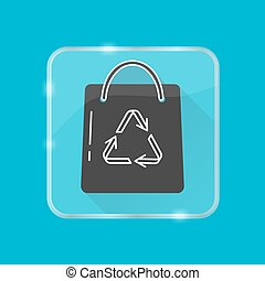 Shopping bag silhouette icon in flat style on transparent button