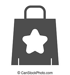 Shopping bag solid icon. Paper bag vector illustration isolated on white. Package glyph style design, designed for web and app. Eps 10.