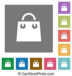 Shopping bag square flat icons