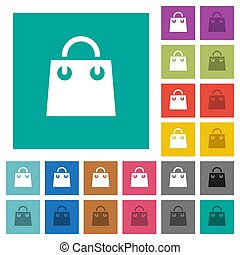 Shopping bag square flat multi colored icons
