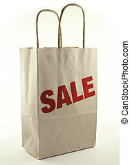 Shopping Bag - Brown paper shopping bag with Sale.