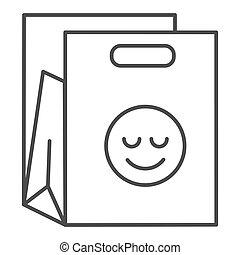 Shopping bag thin line icon. Packet with smiley vector illustration isolated on white. Package outline style design, designed for web and app. Eps 10.