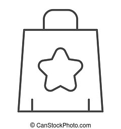 Shopping bag thin line icon. Paper bag vector illustration isolated on white. Package outline style design, designed for web and app. Eps 10.
