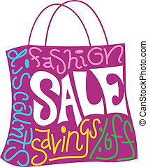 Shopping Bag - Text Illustration Featuring a Shopping Bag